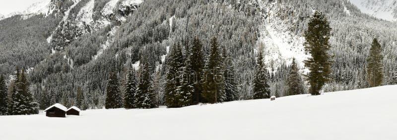 De winter toneelmening van Alpien hutten en bos in de Alpen dichtbij Antholz-Meer, Italiaanse Alpen, Zuid-Tirol royalty-vrije stock fotografie