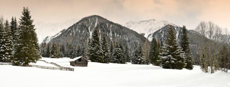 De winter toneelmening van Alpien hutten en bos in de Alpen dichtbij Antholz-Meer, Italiaanse Alpen, Zuid-Tirol royalty-vrije stock foto