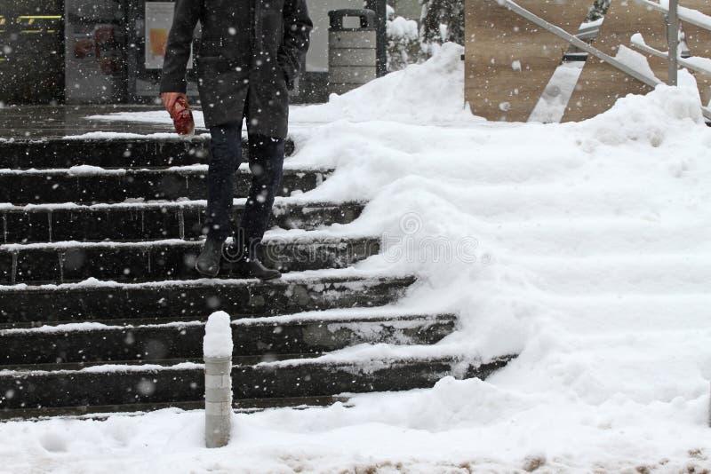 De winter Treden De mensen lopen op zeer sneeuwtreden Niet gereinigde ijzige treden vooraan de gebouwen, gladde treden royalty-vrije stock afbeeldingen