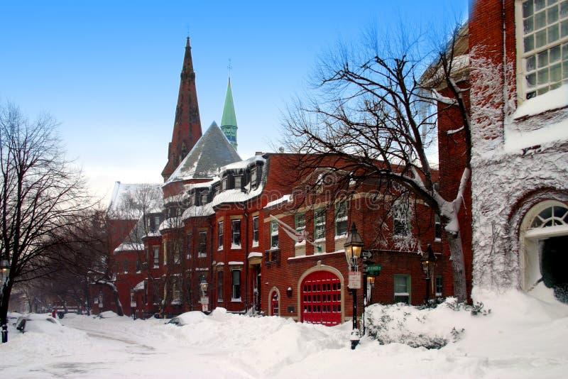 De winter van Boston stock afbeelding