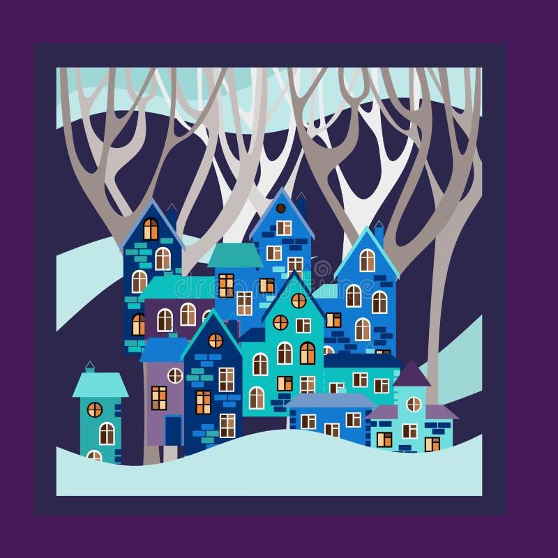 De winter Van de Bandanadruk of hoofddoek de vierkante stijl van het patroonontwerp vector illustratie