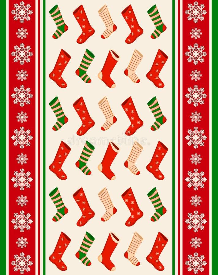 De winter van de sneeuwvlok en sokkenachtergrond. vector illustratie