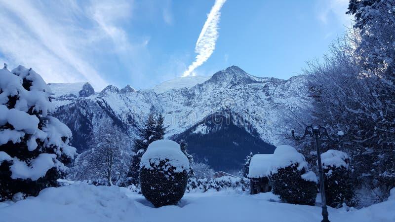 De winter van 2017 in Les Houches/Frankrijk stock afbeelding