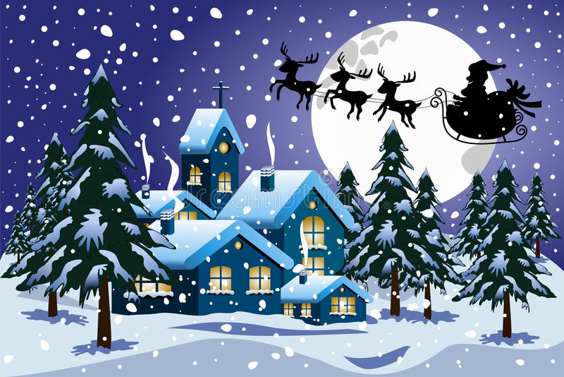 De Winter van silhouetsanta claus xmas sleigh flying night royalty-vrije illustratie