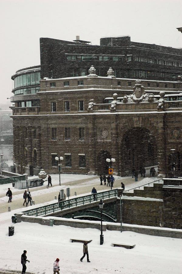 De winter van Stockholm van het Parlement stock foto's