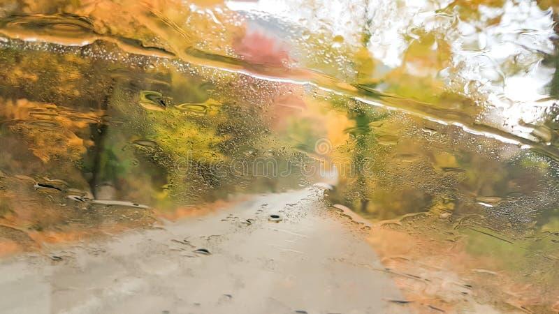De winter van de de wegherfst van de glasregen het drijven royalty-vrije stock foto