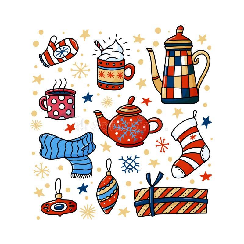De winter, de vierkante banner van Chrismas met grappige krabbels royalty-vrije illustratie