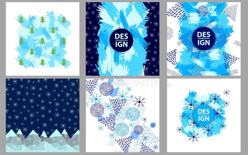 De winter, de Vrolijke Kerstmis en achtergronden van de Nieuwjaarvakantie stock illustratie