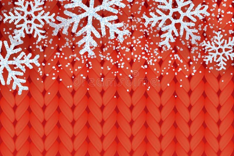 De winter warme rode gebreide achtergrond met realistische witte sneeuw en sneeuwvlokken Vectorkerstmis en Nieuwjaarillustratie royalty-vrije illustratie