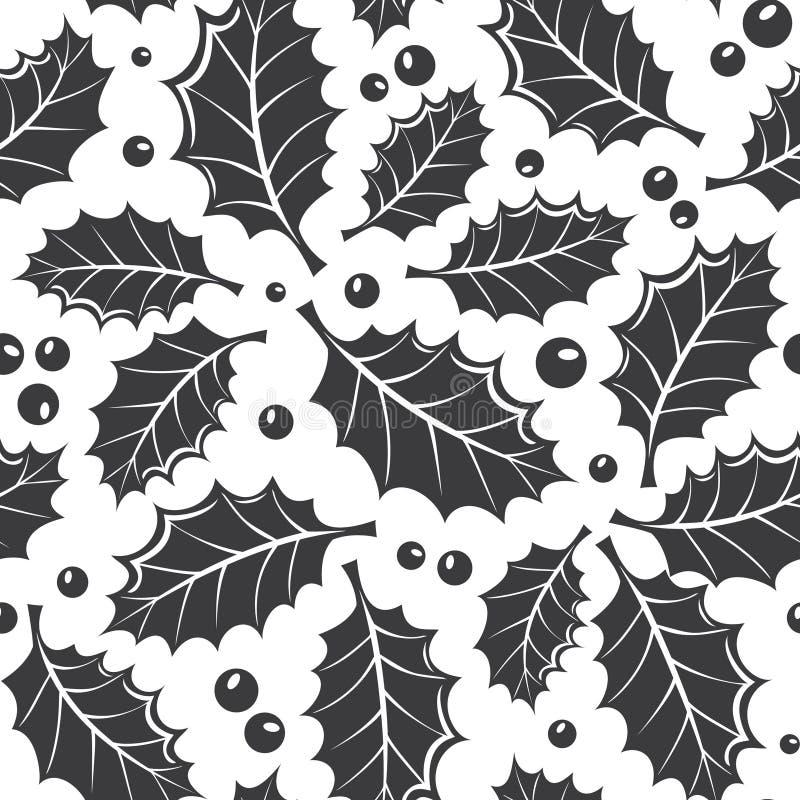 De winter zwart-wit naadloos patroon met hulstblad vector illustratie