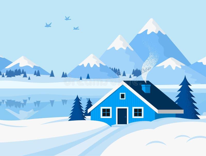 De winterachtergrond met berglandschap in vlakke stijl vector illustratie
