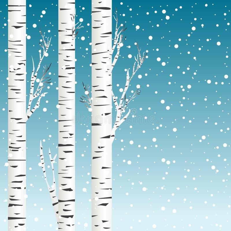 De winterachtergrond met berkbomen en sneeuwvlokken vector illustratie