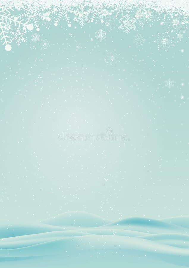 De winterachtergrond met sneeuw en sneeuwvlok stock illustratie