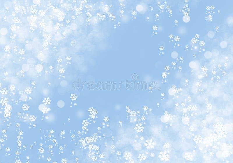 De winterachtergrond met sneeuwvlokken voor uw eigen verwezenlijkingen stock illustratie