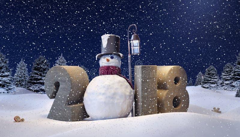 De winterachtergrond, Sneeuwman stock illustratie