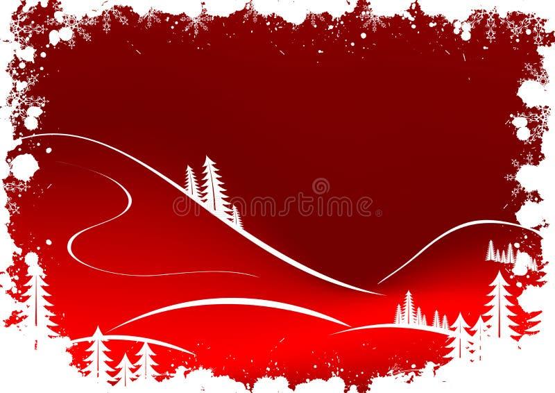 De winterachtergrond van Grunge met sparrensneeuwvlokken en Kerstman Clau royalty-vrije illustratie