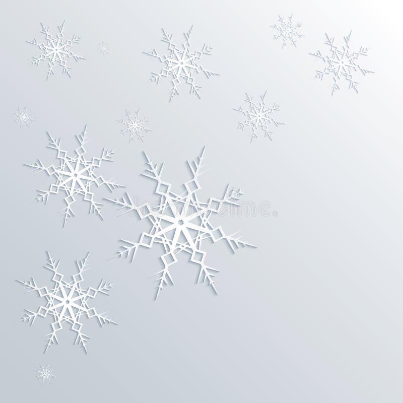 De winterachtergrond van sneeuwvlokken in witte en blauwe kleuren royalty-vrije illustratie