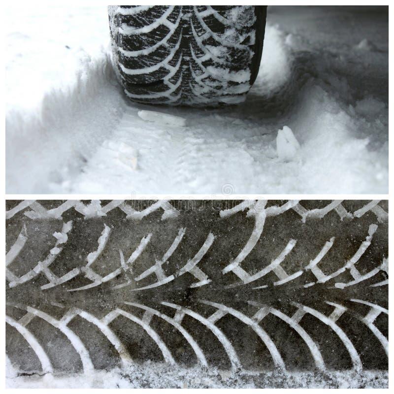 De winterbanden op sneeuw en een sleep van loopvlak van de winterbanden royalty-vrije stock foto's