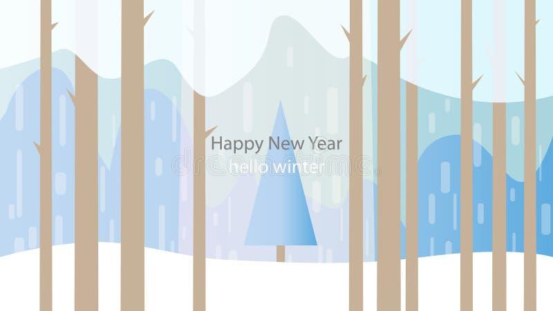 De winterbos, boom, sneeuwval Achtergrond met de woorden gelukkig n vector illustratie