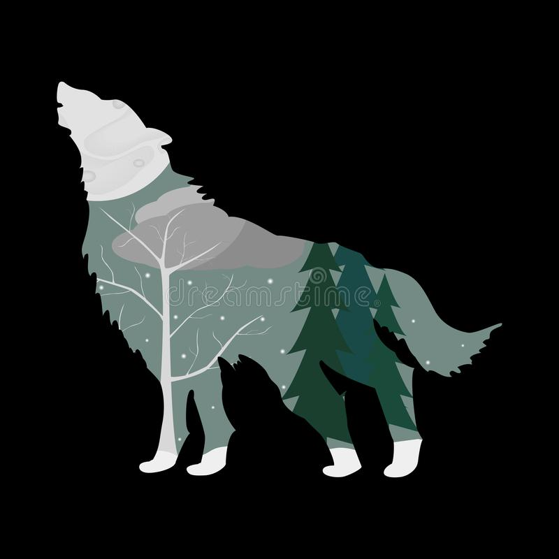 De winterbos in het overzicht van een wolf royalty-vrije illustratie