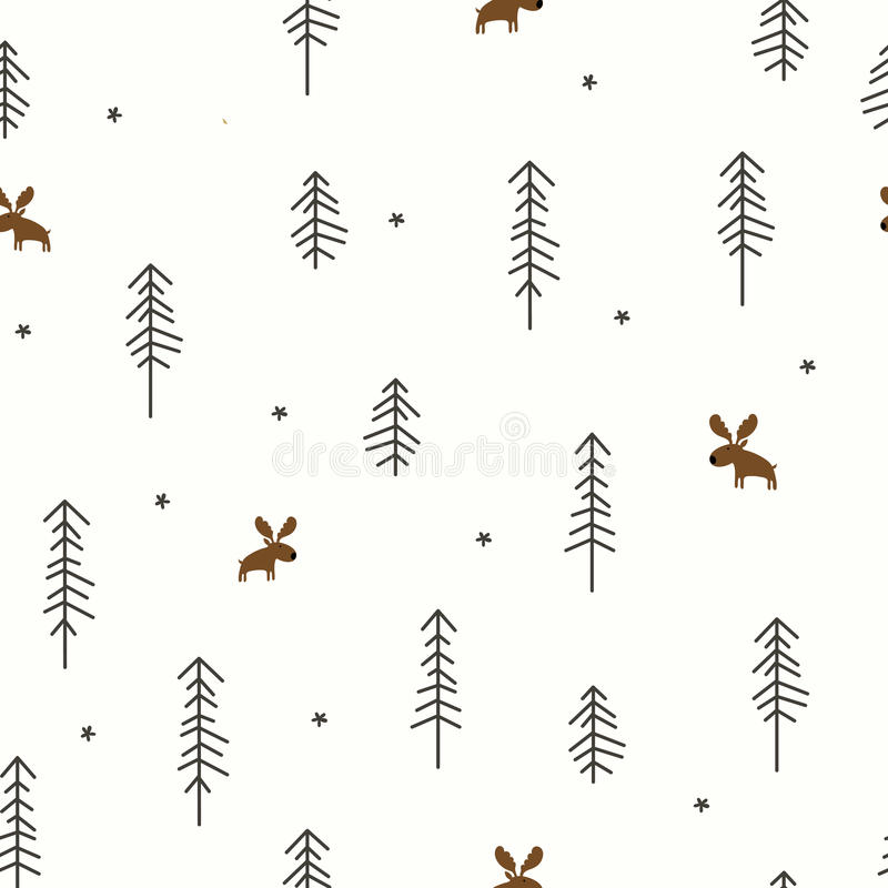De winterbos met een Amerikaanse eland stock illustratie