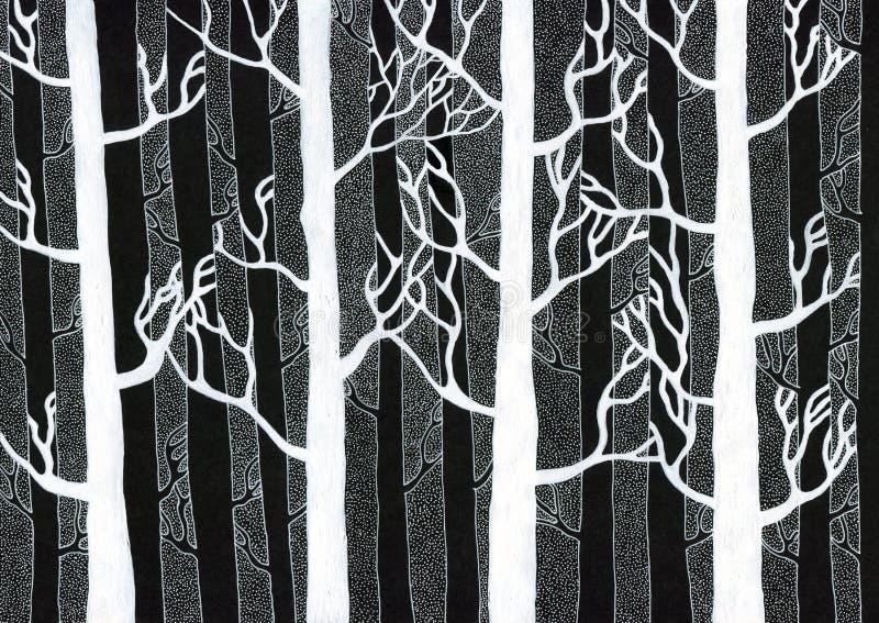 De winterbos - witte inkt op zwart canvas stock foto