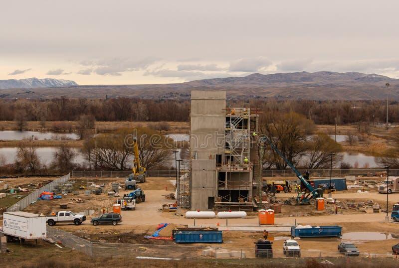 De winterbouw van een gebouw in Eagle Idaho stock afbeelding