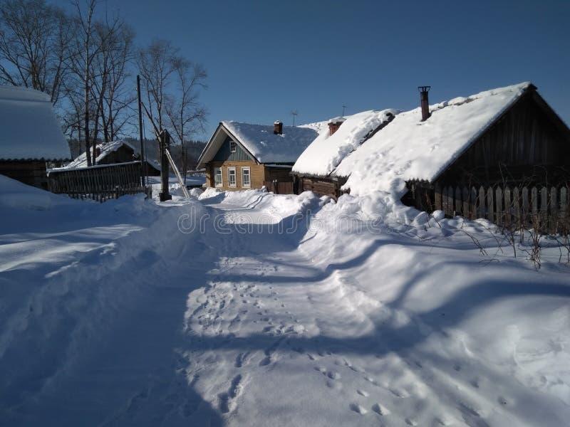 De winterdorp Rusland stock foto