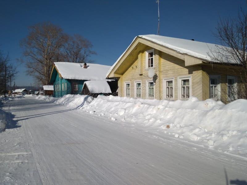 De winterdorp Rusland royalty-vrije stock afbeelding