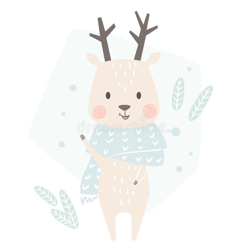 De winterdruk van de hertenbaby Leuk dier in de warme kaart van sjaalkerstmis stock illustratie