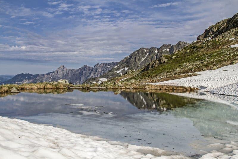 De wintereind op Sustenpass royalty-vrije stock afbeelding