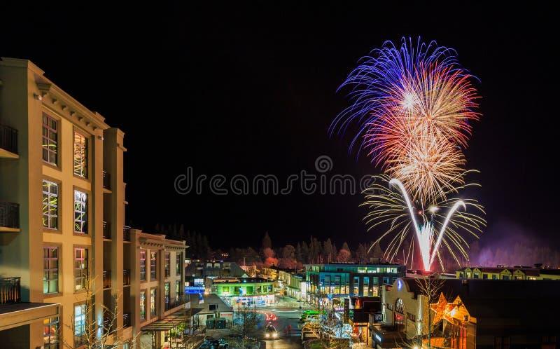 De Winterfestival van vuurwerkqueenstown royalty-vrije stock fotografie