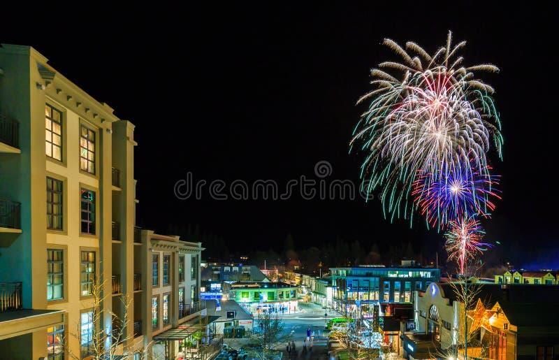 De Winterfestival van vuurwerkqueenstown royalty-vrije stock foto