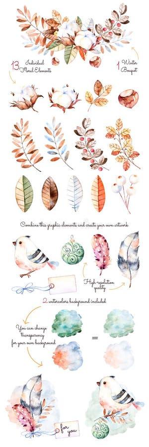 De winterinzameling met 18 hand geschilderde waterverfelements+winter boeketten stock illustratie