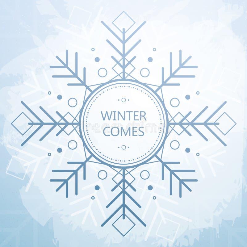 De winterkaart met Mooie Geometrische Sneeuwvlok De stijlachtergrond van Grunge royalty-vrije illustratie