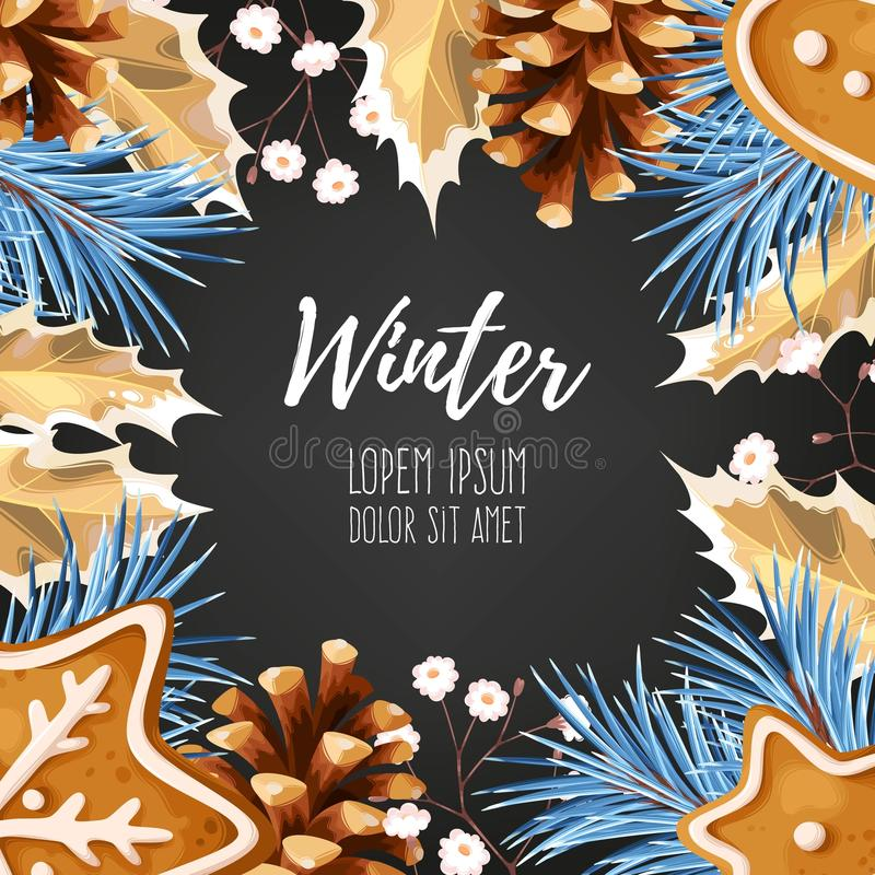 De winterkaart met peperkoek stock illustratie