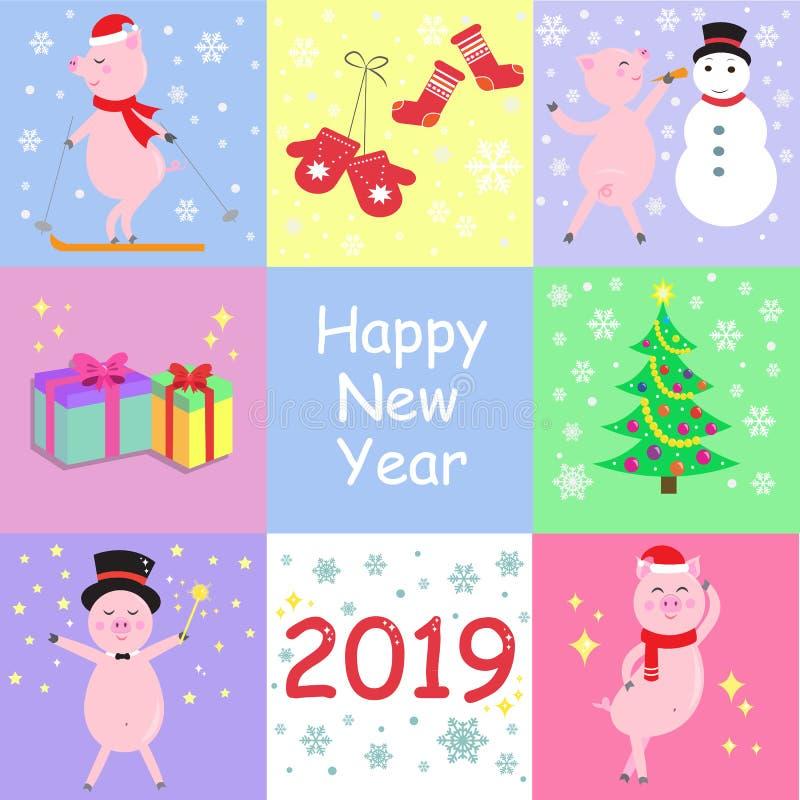 De winterkaarten met leuke varkens, Kerstboom en giften Gelukkig Nieuwjaar 2019 Vector illustratie royalty-vrije illustratie