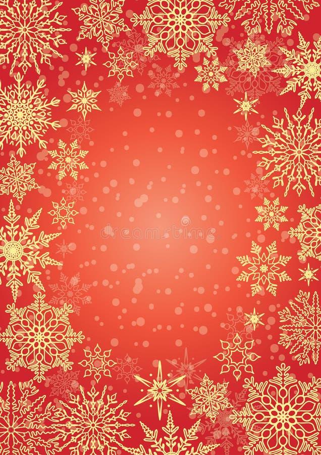 De winterkader met sneeuwvlokken op rode achtergrond vector illustratie