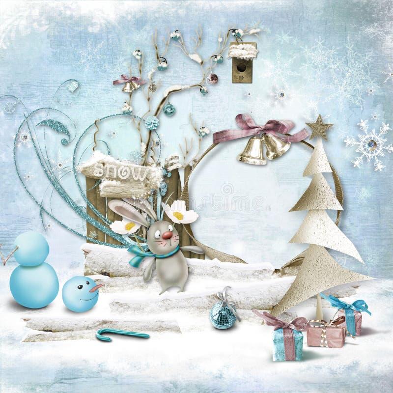 De winterkader voor foto wordt geplaatst die Kerstman Klaus, hemel, vorst, zak royalty-vrije illustratie