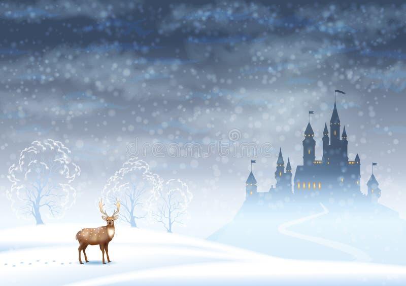 De Winterkasteel van het Kerstmislandschap royalty-vrije illustratie