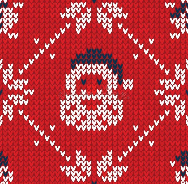 De winterkerstmis breide naadloze abstracte achtergrond Santa Claus, sneeuwvlokken, sneeuwman royalty-vrije illustratie