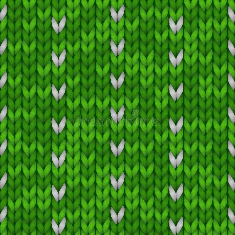 De winterkerstmis breide naadloze achtergrond Gebreid groen patroon met noordse ornamentensneeuwvlokken De winter het breien vector illustratie
