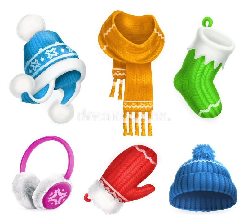 De winterkleren Gebreide hoed De sok van Kerstmis sjaal mitten oorbeschermers Drie kleurenpictogrammen op kartonmarkeringen stock illustratie
