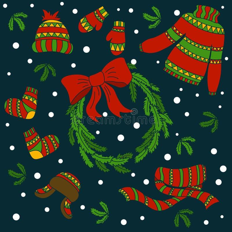 De winterkleren Vuisthandschoenen, sokken, mijter, kappen en een warme lange sjaal De kroon van de Kerstmisspar met rood lint Ker vector illustratie