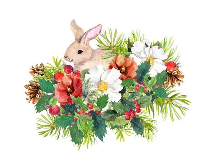 De winterkonijn, bloemen, pijnboomboom, maretak Kerstmiswaterverf voor groetkaart met leuk dier stock illustratie