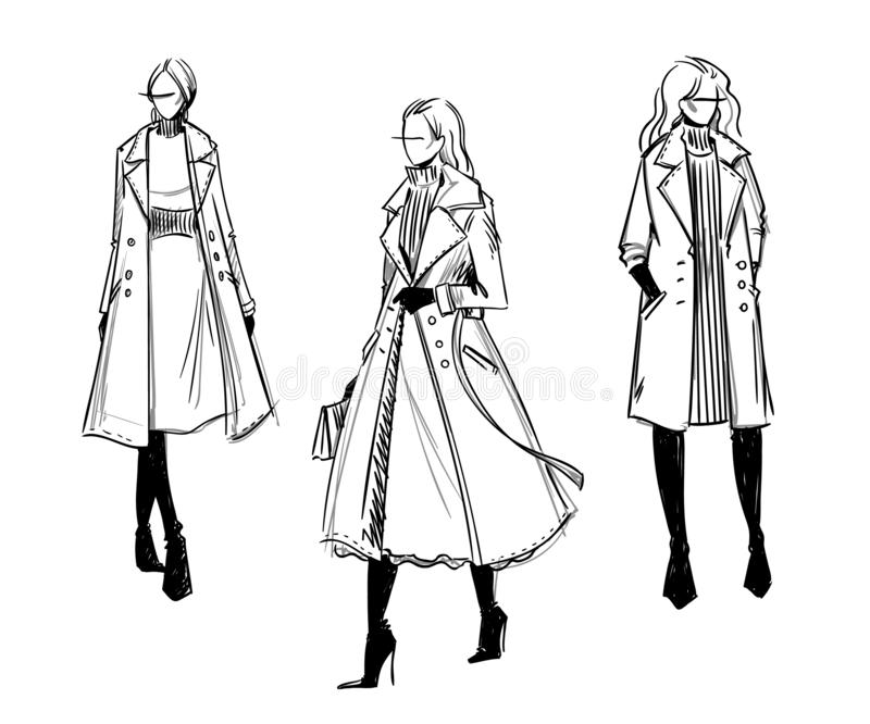 De winterlaag Manierillustratie, vector, zwart-witte schets stock illustratie