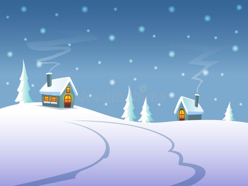 De winterlandschap bij nacht met huizen op heuvels royalty-vrije illustratie
