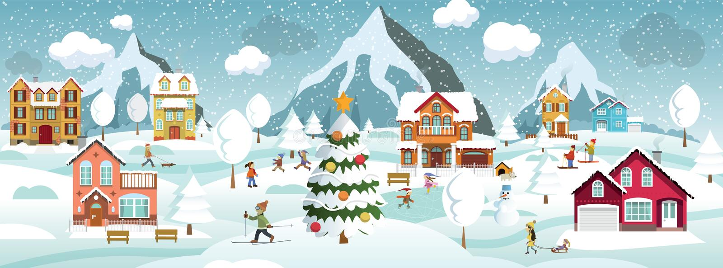 De winterlandschap en de winteractiviteiten royalty-vrije stock afbeeldingen