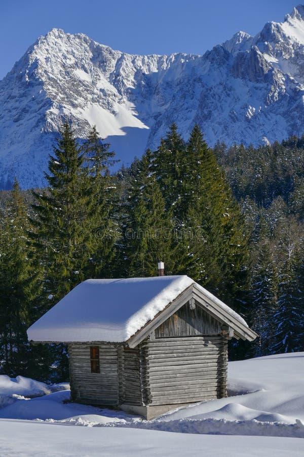 De winterlandschap in Hoger Beieren, Duitsland stock afbeelding