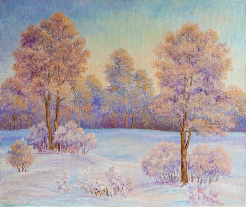 De winterlandschap met bomen in de sneeuw op een canvas Origineel Olieverfschilderij vector illustratie
